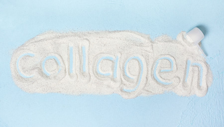 Photo for Blue  with collagen powder close up - Royalty Free Image