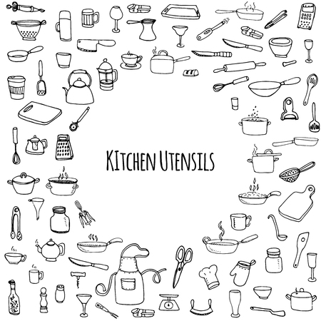 Illustration for Hand drawn doodle Kitchen utensils set Vector illustration Sketchy kitchen ware icons collection Isolated appliance kitchen tools symbols Cutlery icons Cooking equipment Tea pot Pan Knife Chef hat Cup - Royalty Free Image