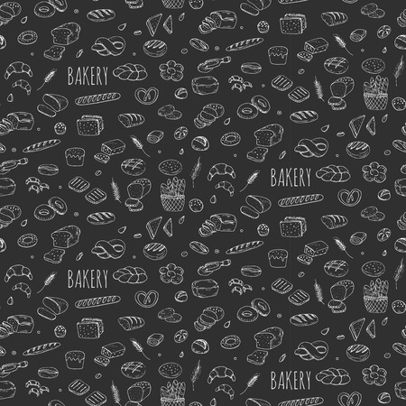 Illustration pour Seamless background hand drawn doodle Bakery set Cartoon bakery icon collection Rye bead Ciabatta Whole grain bread Bagel Sliced bead French baguette Croissant Vector illustration Sketchy bread Bakery - image libre de droit