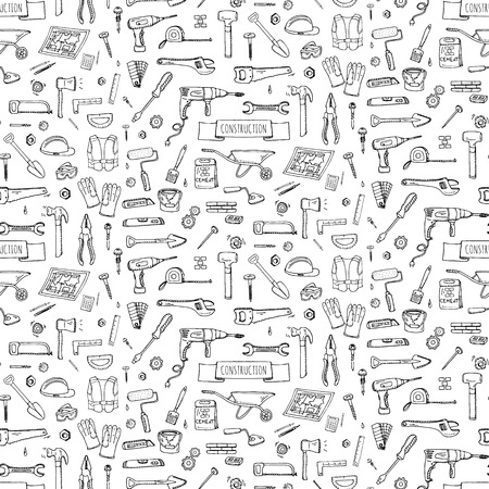 Illustration pour Seamless background hand drawn doodle Construction tools set Vector illustration building icons House repair icons concept collection Modern sketch style labels of house remodel gear elements, symbols - image libre de droit
