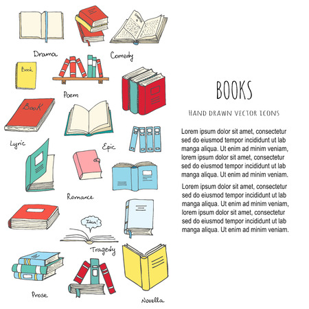 Illustration for Hand drawn doodle Books Reading set Vector illustration Sketchy book icons elements Vector symbols of reading and learning Book club illustration Back to school Education University College symbols - Royalty Free Image