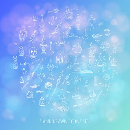 Hand drawn doodle Magic icons set  Vector illustration