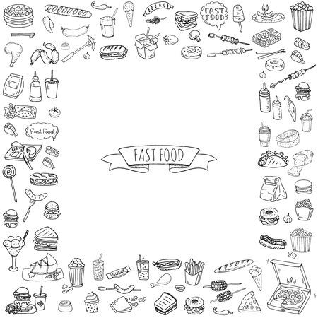 Foto per Hand drawn doodle Fast food icons set. Vector illustration. Junk food elements collection. Cartoon snack various sketch symbol: soda, burger, potato,hot dog, pizza, tacos, sweet desert, donut, popcorn - Immagine Royalty Free