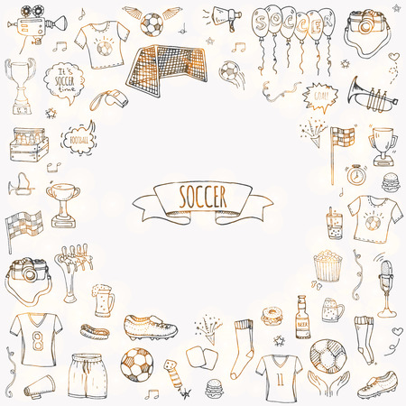 Illustration pour Hand drawn doodle Soccer set Vector illustration Sketchy sport traditional icons Cartoon typical football elements collection Football ball, cleats, goal, trophy, whistle, gloves, boots isolated - image libre de droit