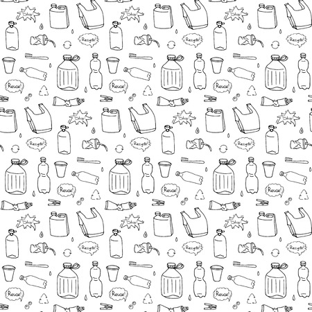 Illustration for Seamless pattern of hand drawn doodle Stop plastic pollution icons Vector illustration sketchy symbols Cartoon elements Bag Bottle Recycle sign Package Disposal waste Contamination disposable dish - Royalty Free Image