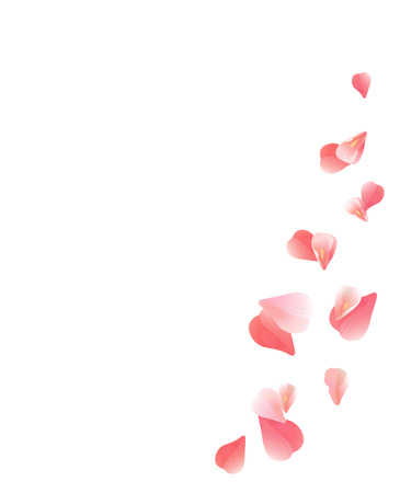 Illustration pour Abstract background with flying pink, red rose petals. Vector illustration isolated on white background. EPS 10, cmyk - image libre de droit