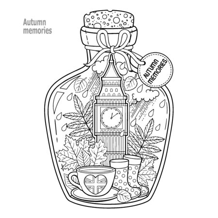 Illustration pour Coloring book for adults. A glass vessel with autumn memories of dreams about a trip to London. A bottle with rain, boots, leaves, a cup of tea, big ben tower london, Victoria Tower - image libre de droit