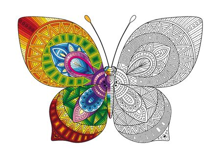 Illustration pour Vector black and white image of a butterfly on white background. Hand drawn butterfly zentangle style for t-shirt design or tattoo. - image libre de droit