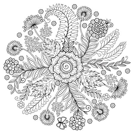 Illustration pour Coloring book for adults. Summer flowers. Vector isolated elements. Round flowers frame. - image libre de droit