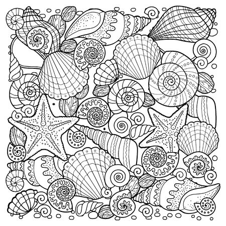 Illustration pour Coloring book for adult, for meditation and relax. Backgroun of sell, anchors, shells, stones and sand. Black and white image on a white background of isolated elements - image libre de droit