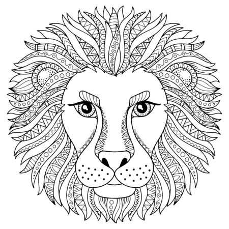 Illustration pour Coloring book for adult. Silhouette of lion isolated on white background. Zodiac sign leo. Abstract background animal prinnt. - image libre de droit
