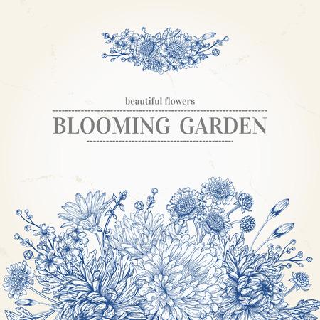 Illustration pour wedding invitation with a bouquet of blue flowers on a beige background - image libre de droit