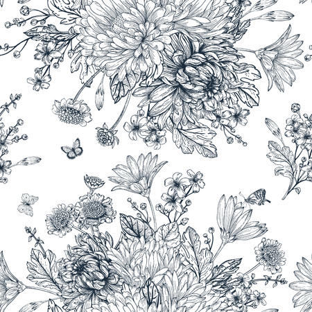 Elegant seamless pattern with bouquets of flowers on a white background