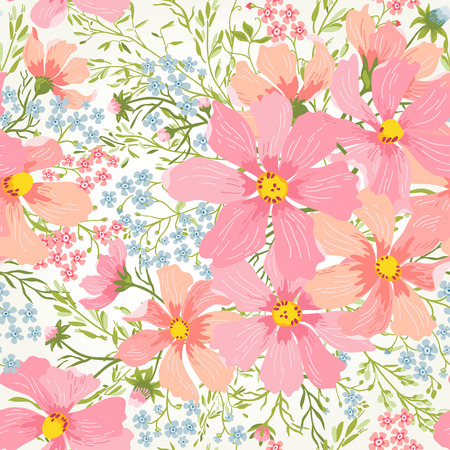 Illustration pour seamless floral romantic pattern with flowers and herbs in pastel colors - image libre de droit