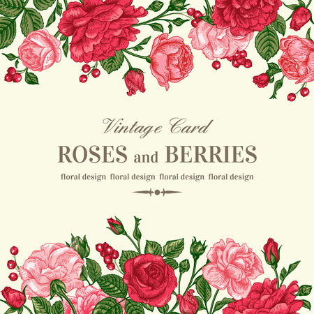 Vintage wedding invitation with pink and red roses on a light background. Vector illustration.