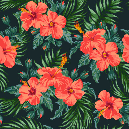 Seamless exotic pattern with tropical leaves and flowers on a black background. Hibiscus pa