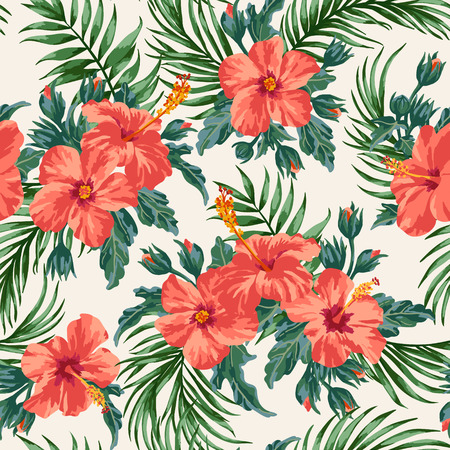 Hibiscus Palm Pattern Wallpaper
