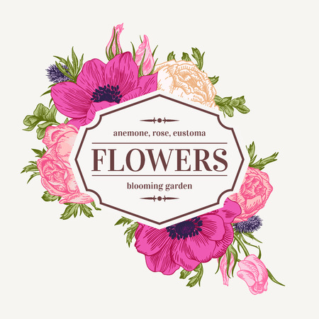 Vintage vector frame with summer flowers. Anemone, rose, eustoma, eryngium.