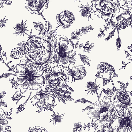 Seamless floral pattern with bouquet of flowers on a white background. Roses anemones eustoma. Black and white.