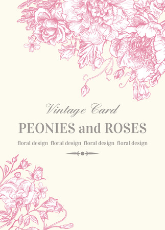 Illustration pour Wedding invitation with roses and peonies in pink on a white background. - image libre de droit
