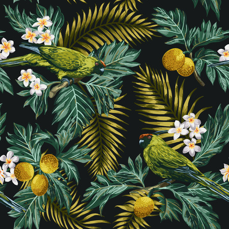 Seamless exotic tropical pattern with leaves, fruits, flowers and birds. Breadfruit, palm, plumeria, parrots. Vector illustration.のイラスト素材