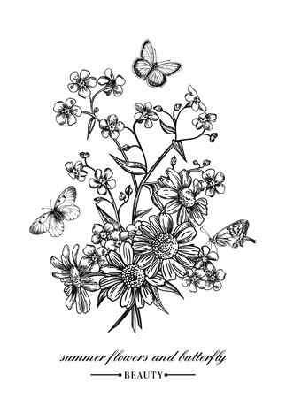 Ilustración de Vector vintage card with a bouquet of flowers and butterflies. Forget-me-not and daisies. Black and white illustration. - Imagen libre de derechos