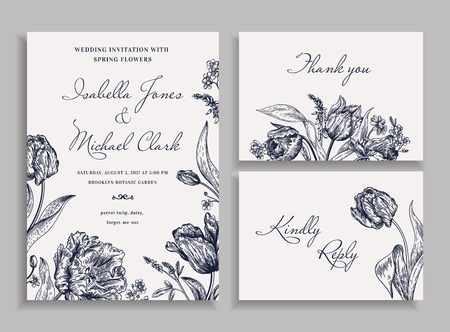 Ilustración de Vintage wedding set with spring flowers in the bohemian style. Wedding invitation, thank you card. RSVP card. Parrot tulips, daisies, forget-me. Botany. Vector illustration. Black and white. - Imagen libre de derechos