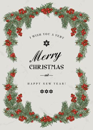 Ilustración de Vintage Christmas frame with pine branches and berries Holly. Vector illustration. - Imagen libre de derechos