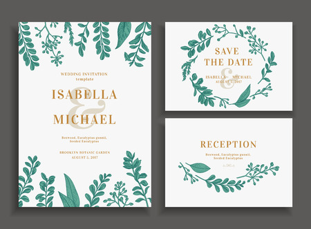 Illustration for Vintage wedding set with greenery. Wedding invitation, save the date, reception card. - Royalty Free Image