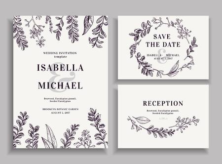 Illustration pour Vintage wedding set with greenery. Wedding invitation, save the date, reception card. - image libre de droit