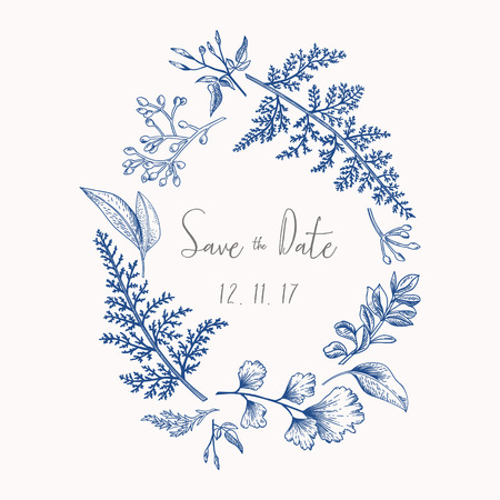 Illustration for Wreath with herbs and leaves isolated on white background. Botanical illustration In blue. Boxwood, seeded eucalyptus, fern, maidenhair. Save the date. Design elements. - Royalty Free Image