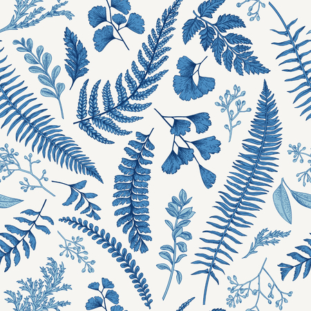 Illustration for Seamless floral pattern in vintage style. Leaves and herbs in blue. Botanical illustration. Boxwood, seeded eucalyptus, fern, maidenhair. - Royalty Free Image