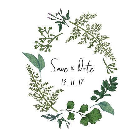 Illustration for Wreath with herbs and leaves isolated on white background. Botanical illustration. Boxwood, seeded eucalyptus, fern, maidenhair. Save the date. Design elements. - Royalty Free Image
