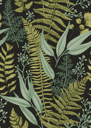 Illustration pour Seamless floral pattern in vintage style. Leaves and plants. Botanical illustration. Vector. - image libre de droit