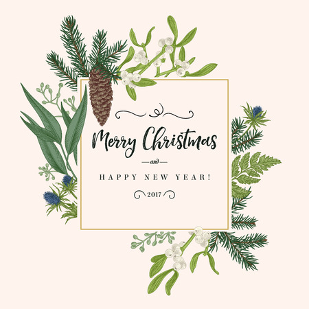 Ilustración de Christmas holiday frame in vintage style. Greeting invitation card. Botanical illustration with pine branches, pine cones, mistletoe, fern. - Imagen libre de derechos