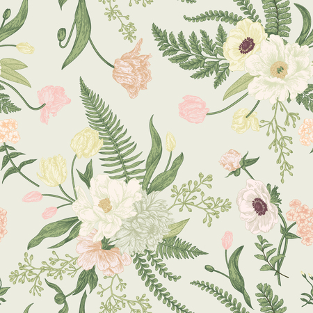 Illustration pour Seamless floral pattern with bouquets of spring flowers. Vintage background. Peony, ferns, tulips, anemones, chrysanthemum eucalyptus seeds. Pastel colors. - image libre de droit