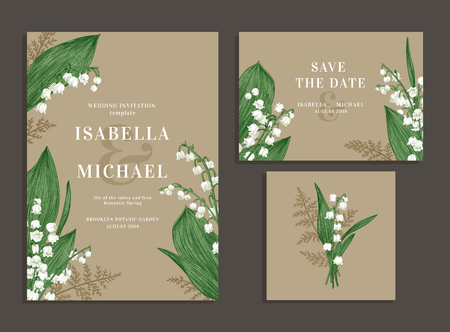 Illustration pour Vintage wedding set with spring flowers. Lilies of the valley and fern. Wedding invitation, save the date, reception card. - image libre de droit