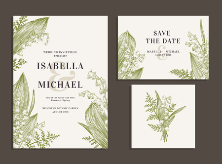 Illustration pour Vintage wedding set with spring flowers. Lilies of the valley and fern. Wedding invitation, save the date, reception card. Vector illustration. - image libre de droit