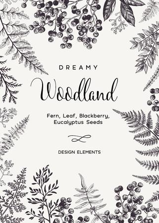 Illustration pour Vintage card with fern leaves and black berries. Wedding invitation. Engraving style. Botanical illustration.  Design elements. Vector. Black and white. - image libre de droit
