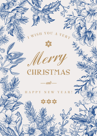 Illustration pour Christmas holiday frame.  Winter background. Vector floral illustration. Blue. - image libre de droit