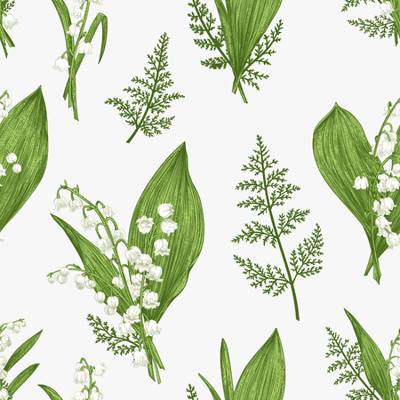 Illustration pour Seamless pattern with lily of the valley flowers - image libre de droit