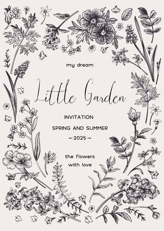 Illustration for Vector floral invitation card with place for text in the shape of a heart. Little garden.  Black and white. - Royalty Free Image