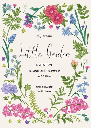 Illustration pour  Floral frame with spring and summer garden plants.  Little garden. Vector botanical illustration. Vintage style. Invitation card with flowers. Muscari, ferns, wormwood, geranium, hyacinth, rose. - image libre de droit