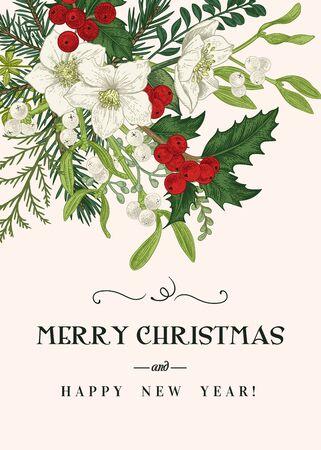Photo pour Vintage invitation card with traditional winter plants. Colorful. Christmas vector background. - image libre de droit