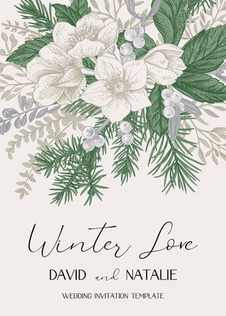 Illustration pour Winter wedding invitation. Christmas background with a bouquet of evergreens, conifers and hellebore flowers. Vintage card in gentle pastel delicate colors. Vector botanical illustration. - image libre de droit