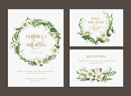 Illustration pour Set of wedding cards with a green wreath and a bouquet. Invitation, save the date, reception. - image libre de droit