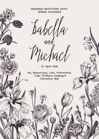 Foto für Wedding invitation with spring and summer flowers. Black and white. - Lizenzfreies Bild