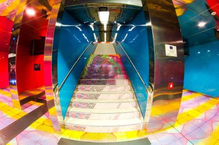Naples, Italy - January 4, 2015: University Metro Station in Naples.
