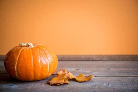 Foto für Autumn background with oak leaves and pumpkin with copy space, - Lizenzfreies Bild