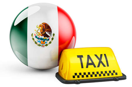 Taxi service in Mexico concept. Yellow taxi car signboard with Mexican flag, 3D rendering isolated on white background